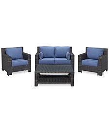 Viewport Outdoor Wicker 4-Pc. Seating Set (1 Loveseat, 2 Club Chairs and 1 Coffee Table), Created for Macy's