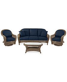 Sandy Cove Outdoor Wicker 4-Pc. Seating Set (1 Sofa, 2 Swivel Gliders and 1 Coffee Table) Custom Sunbrella®, Created for Macy's
