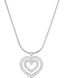 Swarovski Circle Double Heart Pendant Necklace