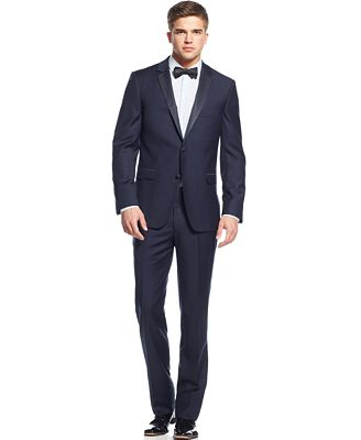 DKNY Extra Slim-Fit Navy Blue Tuxedo - Suits & Suit Separates ...