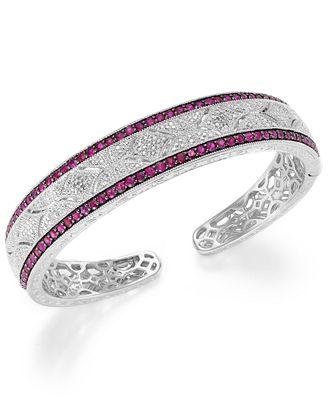 Ruby 1 3 4 ct t w and Diamond 1 10 c t t w Cuff Bangle