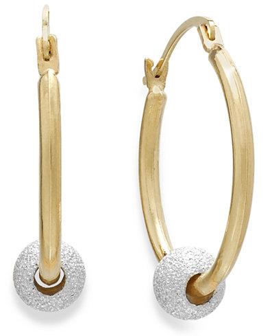 Beaded Hoop Earrings in 10k Gold and Sterling Silver