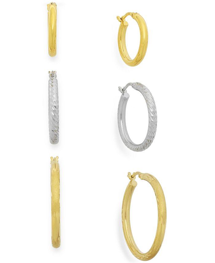 Macy's - Two-Tone Three-Hoop Set in 14k Gold Vermeil
