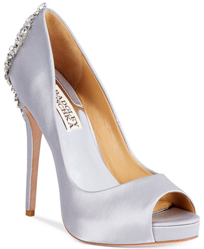 Badgley Mischka Kiara Embellished Peep-Toe Evening Pumps Women's Shoes tmteVZxT