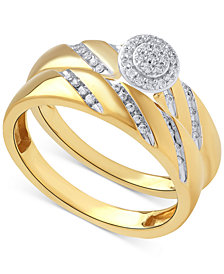 Beautiful Beginnings Diamond Halo Engagement Ring Set in 14k Gold (1/5 ct. t.w.)