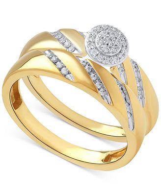 Beautiful Beginnings Diamond Halo Engagement Ring Set In 14k Gold 1