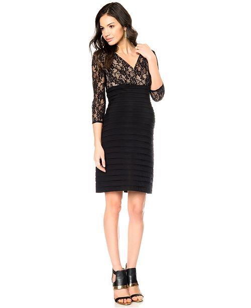 8791fb6a25a Adrianna Papell Maternity Lace Tiered Dress   Reviews - Maternity ...