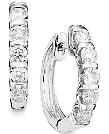 Channel-Set Diamond Hoop Earrings in 14k White Gold (1 ct. t.w.)