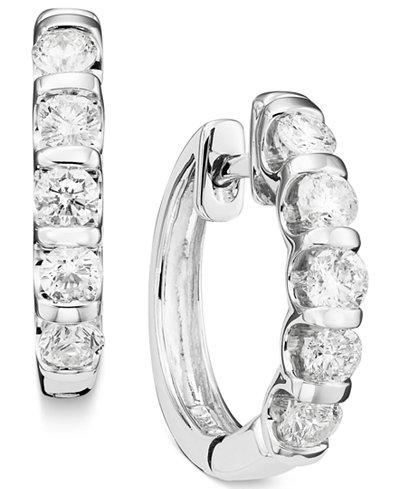 Channel Set Diamond Hoop Earrings In 14k White Gold 1 Ct