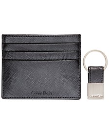 Saffiano Leather Two-Tone Card Case & Key Fob