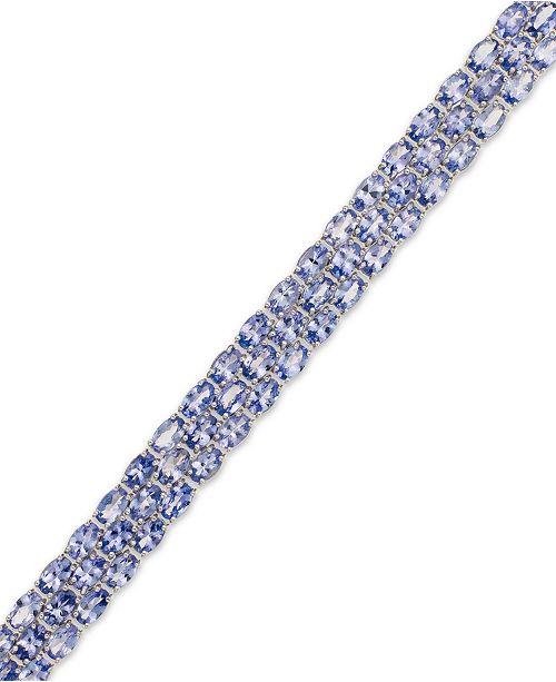 Macy's Tanzanite (25 ct. t.w.) Three-Row Bracelet in Sterling Silver