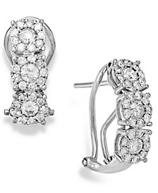 Diamond (1 ct. t.w.) Cluster Flower Huggie Earrings in 14k White Gold