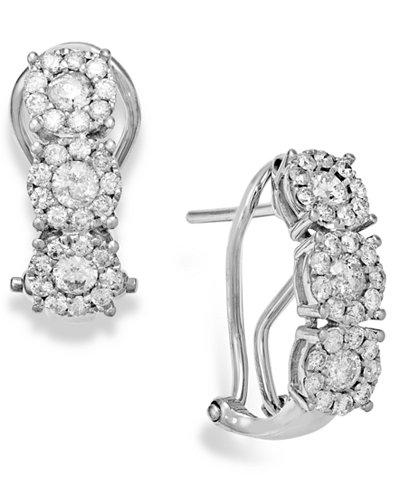 Diamond (1 ct. t.w.) Cluster Flower Huggie Earrings in 14k White Gold