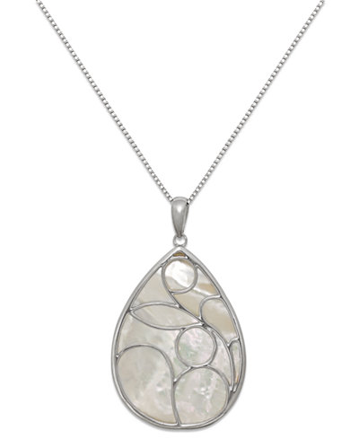 Caged Teardrop of Genuine White Mother of Pearl Pendant Set in Sterling Silver