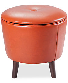 Zane Faux Leather Storage Ottoman, Quick Ship