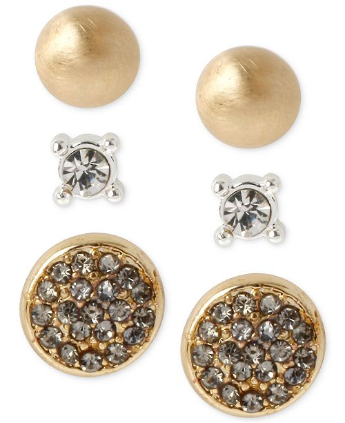 Kenneth Cole Two-Tone Pavé Circle and Crystal Stud Earring Set