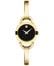 Movado Women's Swiss Rondiro Mini Gold PVD-Finished Stainless Steel Bangle Bracelet Watch 22mm 0606888
