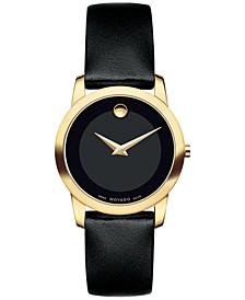 Women's Swiss Museum Classic Black Leather Strap Watch 28mm 0606877