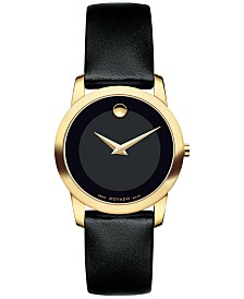 Movado Women's Swiss Museum Classic Black Leather Strap Watch 28mm 0606877
