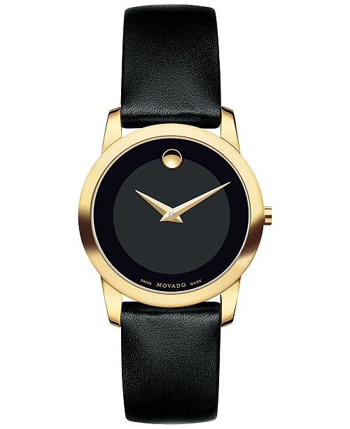 05ee552a1 ... Movado Women's Swiss Museum Classic Black Leather Strap Watch 28mm  0606877 ...