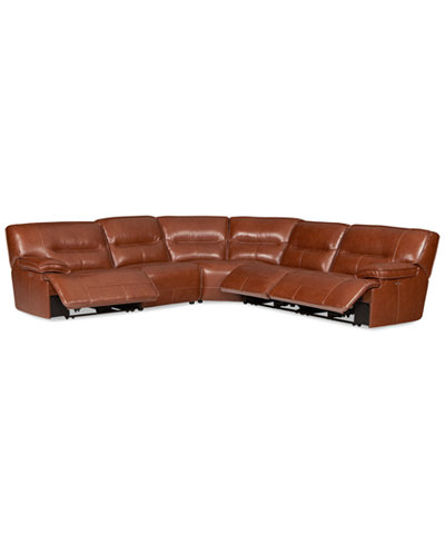CLOSEOUT! Beckett 5-pc Leather Sectional Sofa with 3 Power Recliners, Created for Macy's