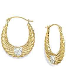 Crystal Wing Hoop Earrings in 10k Gold, 19mm