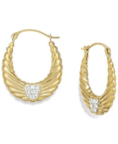 Crystal Wing Hoop Earrings in 10k Gold, 19mm