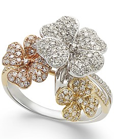 EFFY Diamond Tri-Tone Flower Ring in 14k Gold (5/8 ct. t.w.)