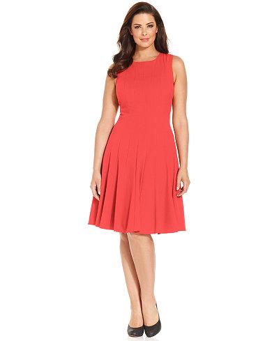 Calvin Klein Plus Size Pleated A-Line Dress