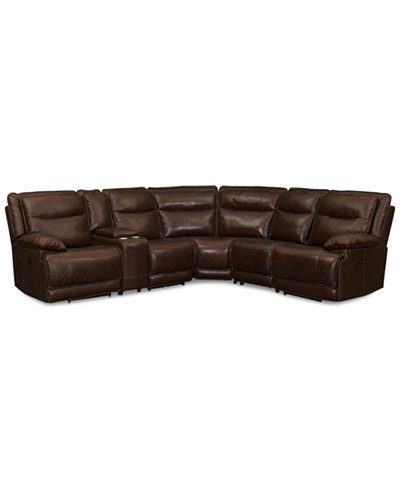 Joffrey Leather 6 Piece Sectional Sofa With 2 Power