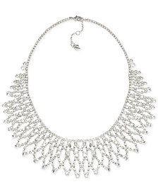 Carolee Silver-Tone Crystal Bib Frontal Necklace