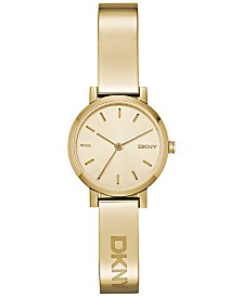 DKNY Women's Soho Gold-Tone Stainless Steel Half-Bangle Bracelet Watch 24mm NY2307