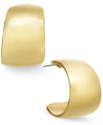 Image of Charter Club Gold-Tone Small Wide Hoop Earrings