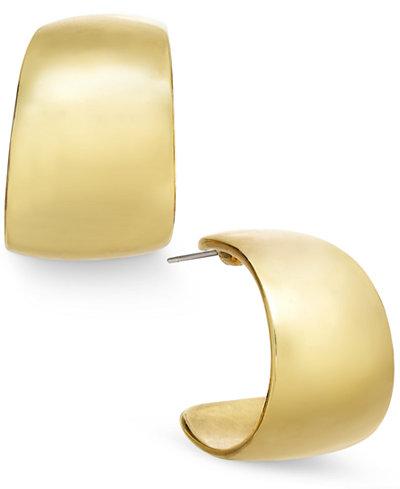 Charter Club Gold-Tone Small Wide Hoop Earrings