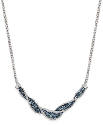 White and Blue Diamond Twist Necklace in Sterling Silver (1 ct. t.w.), Created for Macy's