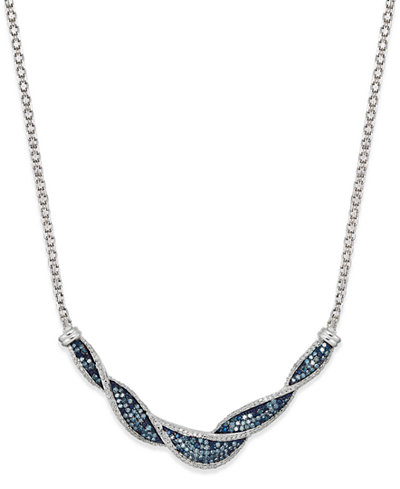 Wrapped in Love White and Blue Diamond Twist Necklace in Sterling Silver (1 ct. t.w.), Created for Macy's