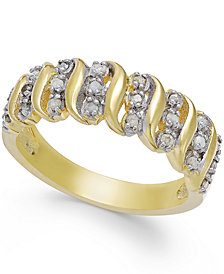 """Victoria Townsend Rose-Cut Diamond """"S"""" Ring in 18k Gold Over Sterling Silver or Sterling Silver (1/4 ct. t.w.)"""