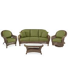 Sandy Cove Outdoor Wicker 4-Pc. Seating Set (1 Sofa, 1 Club Chair, 1 Swivel Glider and 1 Coffee Table) Custom Sunbrella®, Created for Macy's