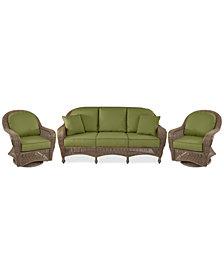 Sandy Cove Outdoor Wicker 3-Pc. Seating Set (1 Sofa and 2 Swivel Gliders) Custom Sunbrella®, Created for Macy's