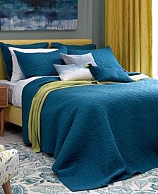bluebellgray Fern Solid Saxony Blue Twin Coverlet
