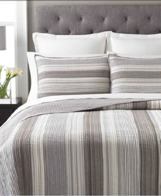 100% Cotton Garrison Stripe Neutral Twin Quilt