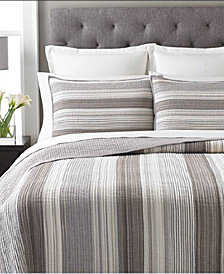 Martha Stewart Collection  100% Cotton Garrison Stripe Neutral Queen Quilt