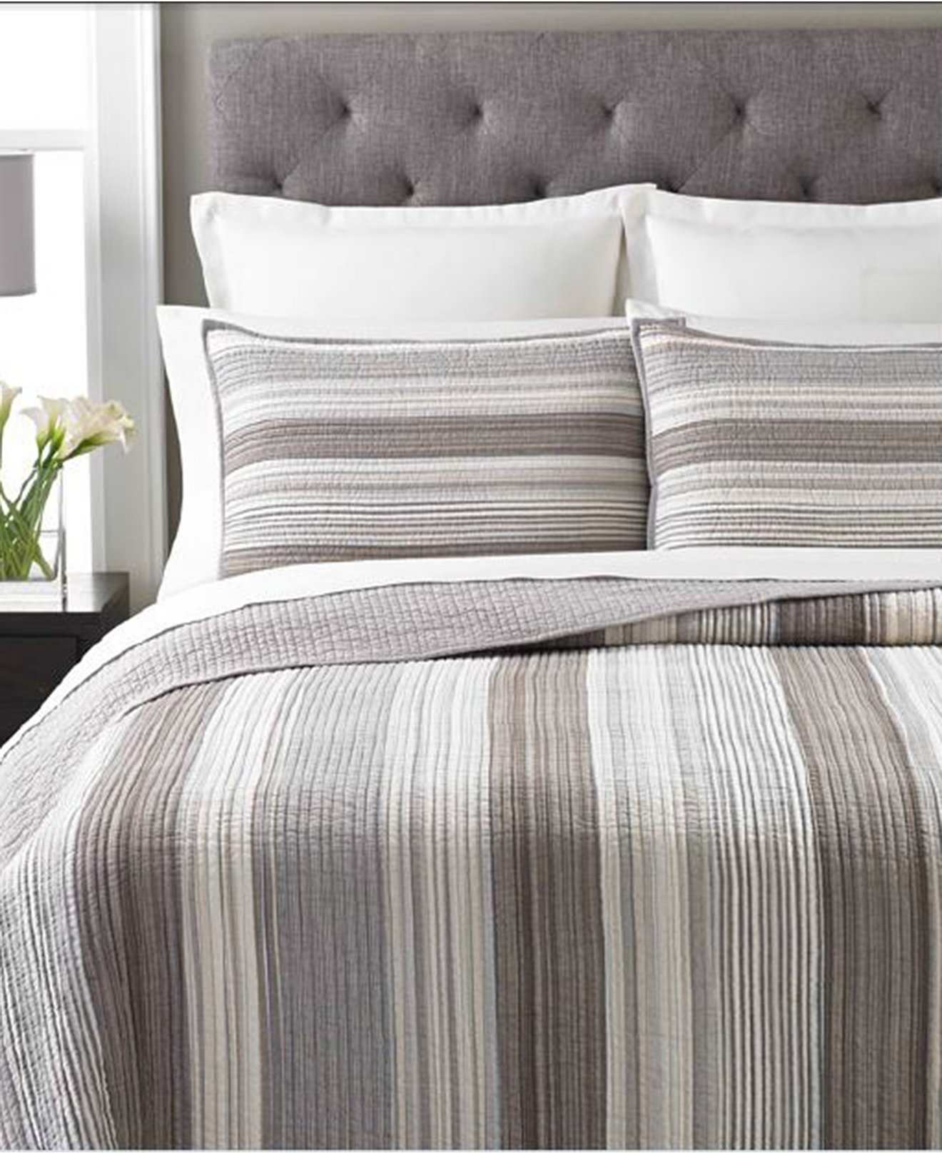 Martha Stewart Collection Quilts and Bedspreads   Macy s Martha Stewart Collection Garrison Stripe Neutral Quilts. Bedroom Quilts. Home Design Ideas