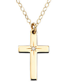 "Children's 15"" Diamond Accent Cross Pendant in 14k Gold"