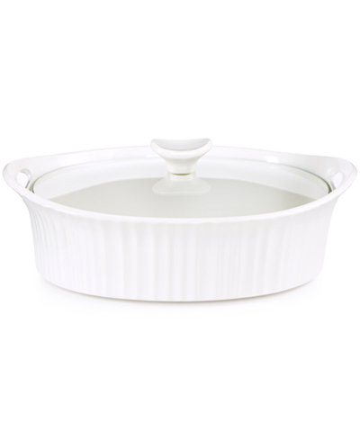 Corningware French White 2.5-Qt. Oval Casserole with Glass Cover