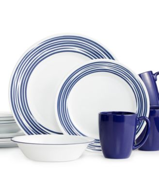 main image; main image ...  sc 1 st  Macyu0027s & Corelle Brushed Cobalt Blue 16-Pc. Dinnerware Set Service for 4 ...
