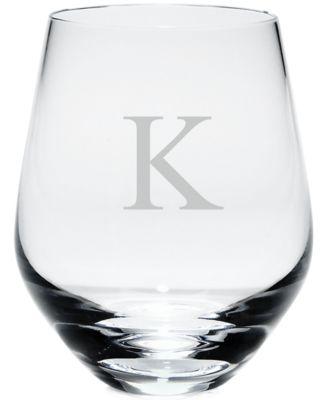 Tuscany Monogram Stemless White Wine Glasses, Set of 4, Block Letters