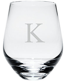 Lenox Tuscany Monogram Stemless White Wine Glasses, Set of 4, Block Letters