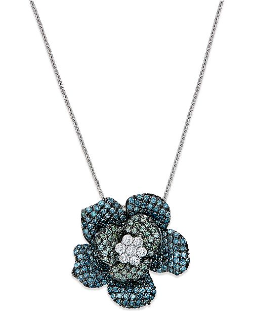 Macy's Blue and Green Diamond Flower Pendant Necklace in 14k White Gold (1 ct. t.w.)