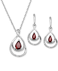 Ruby ( 1-1/8ct. t.w.) and Diamond Accent Pendant and Earring Set in Sterling Silver